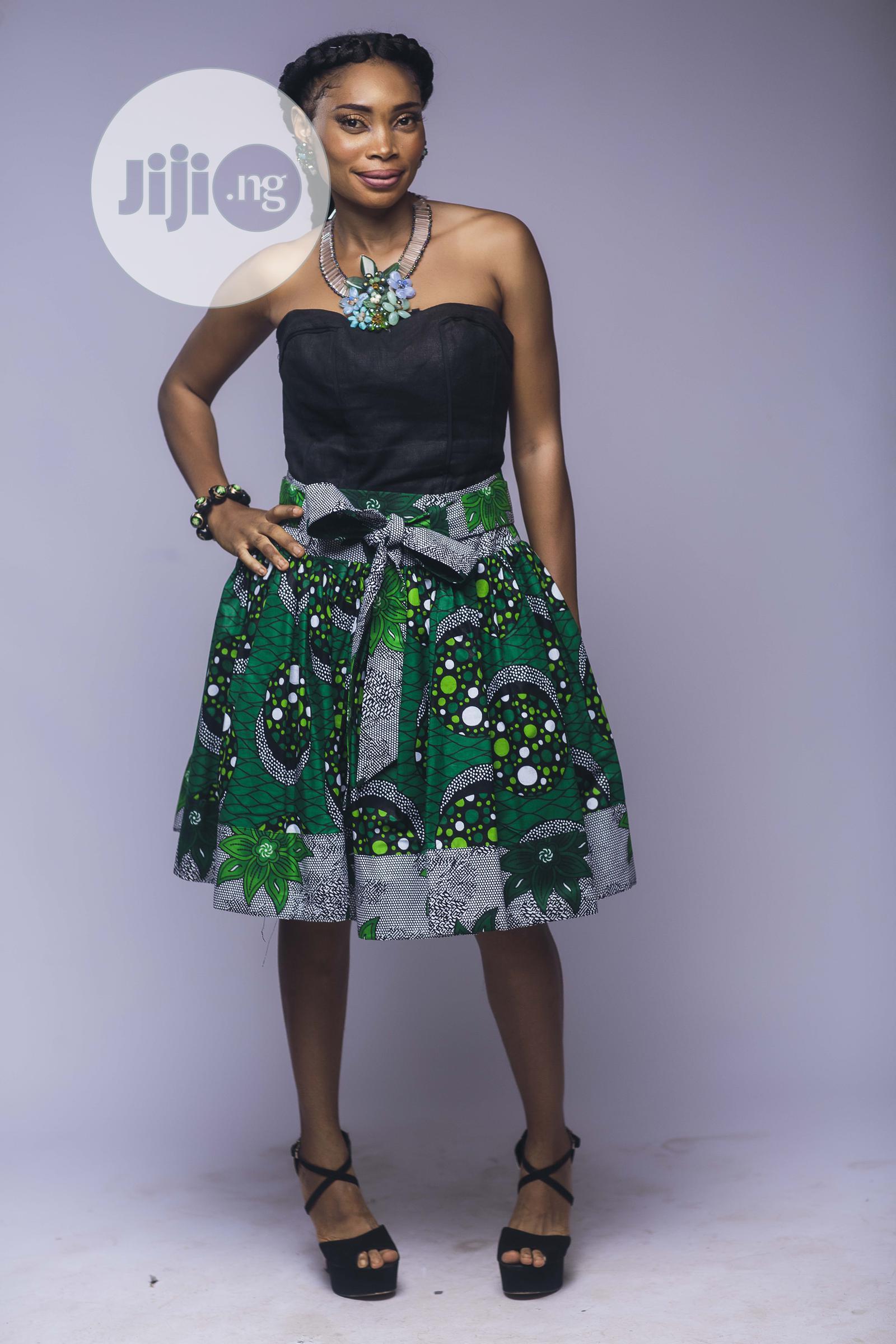 African Print, Ankara Skater Skirt, Short Skirt, Green