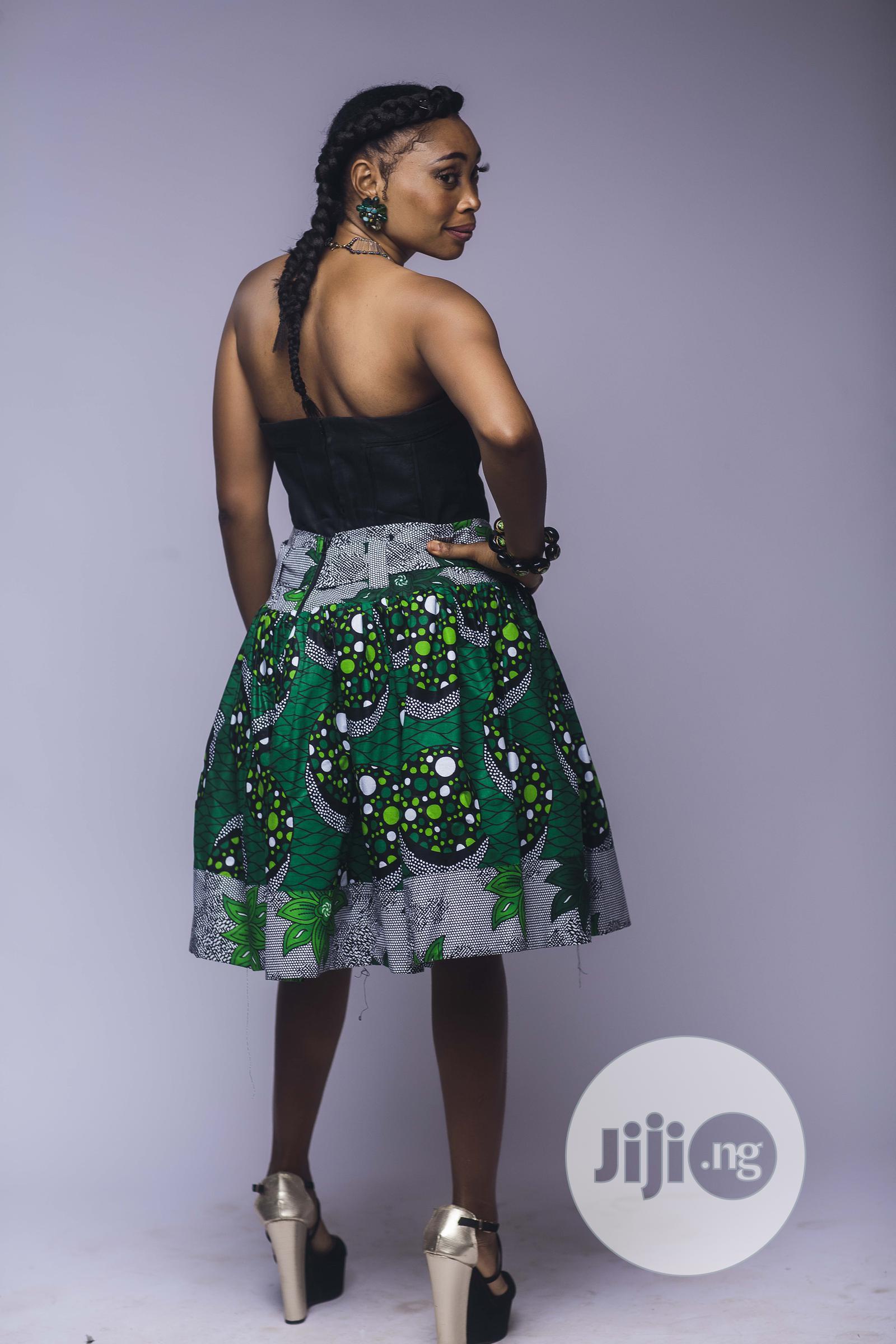 African Print, Ankara Skater Skirt, Short Skirt, Green | Clothing for sale in Yaba, Lagos State, Nigeria