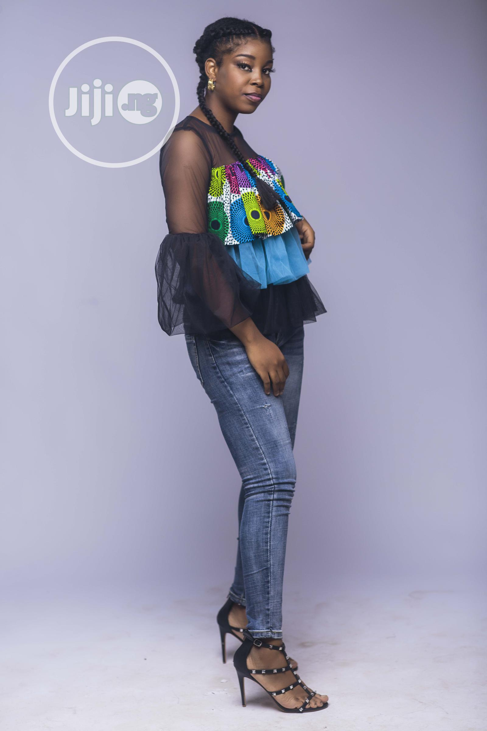African Print Top, Ankara Frilly Layered Top, , Blue | Clothing for sale in Yaba, Lagos State, Nigeria