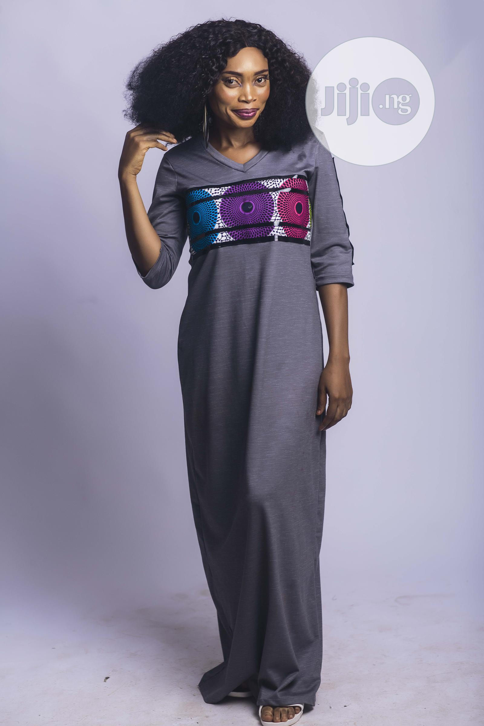 Shalaye ( Explain), African Print, Long Dress,Gray | Clothing for sale in Yaba, Lagos State, Nigeria