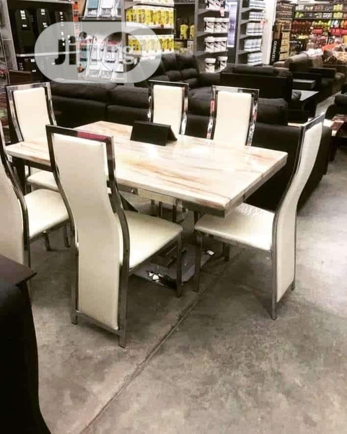 Quality Animal Leg Marble Top Dining Table By 6 Chairs
