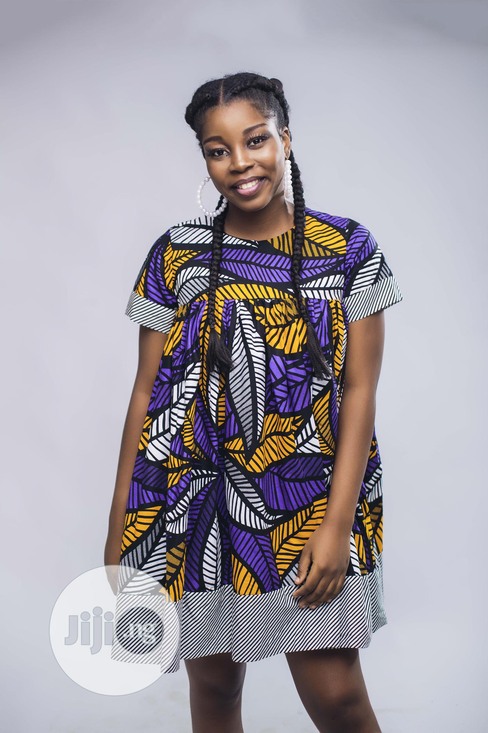 African Print Doll Dress, Ankara Short Dress, Purple