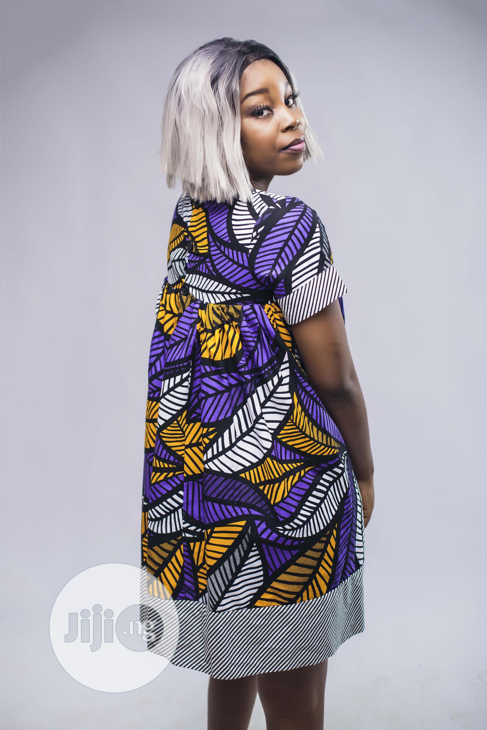 Archive: African Print Doll Dress, Ankara Short Dress, Purple