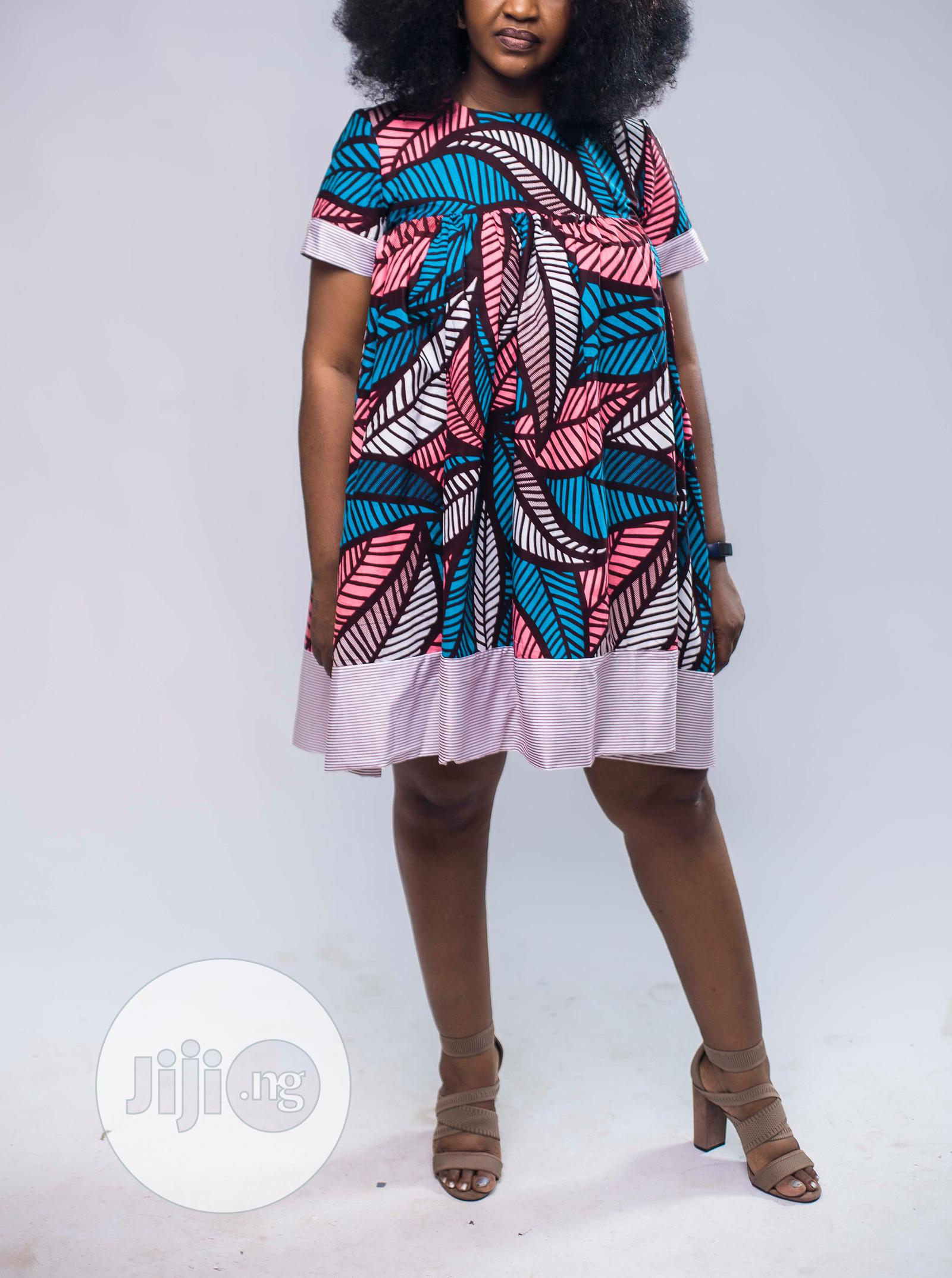 African Print Doll Dress, Ankara Short Dress, Pink & Blue | Clothing for sale in Yaba, Lagos State, Nigeria