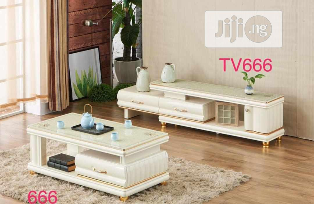 Archive: Balanced Tv Stand With Center Table (100% Mazona Wood)