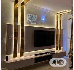 Luxury- Panel TV Stand With Gold LED Lights | Furniture for sale in Lagos State, Lekki