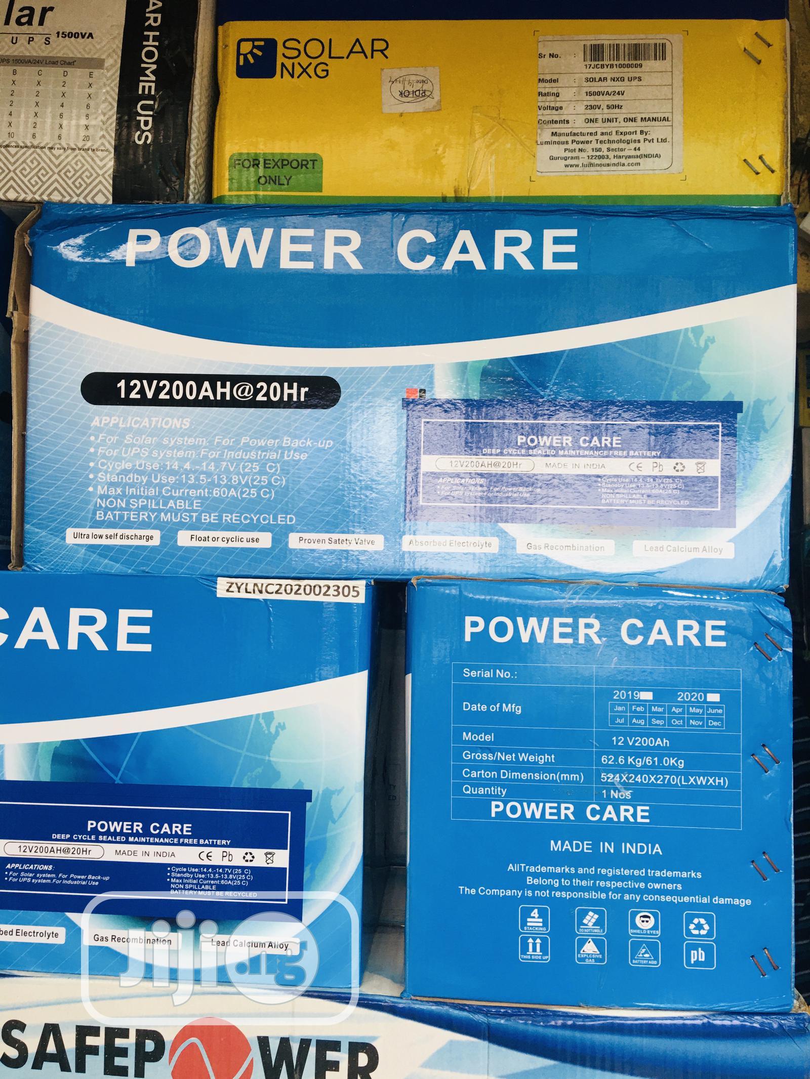 200ah 12volts Power Care Gel Battery