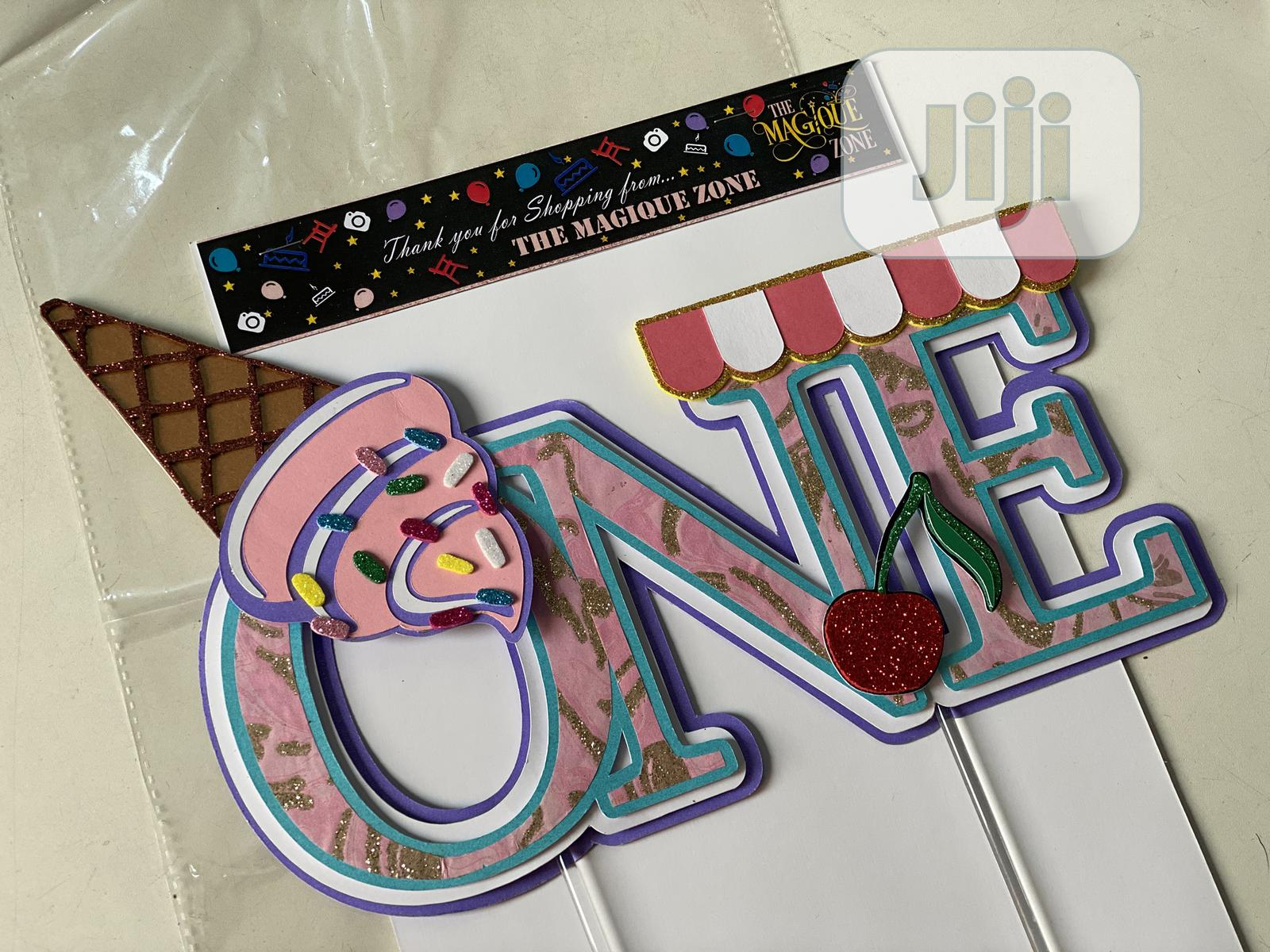 """Archive: 3D Custom Made Ice Cream Themed """"ONE"""" Cake Topper"""