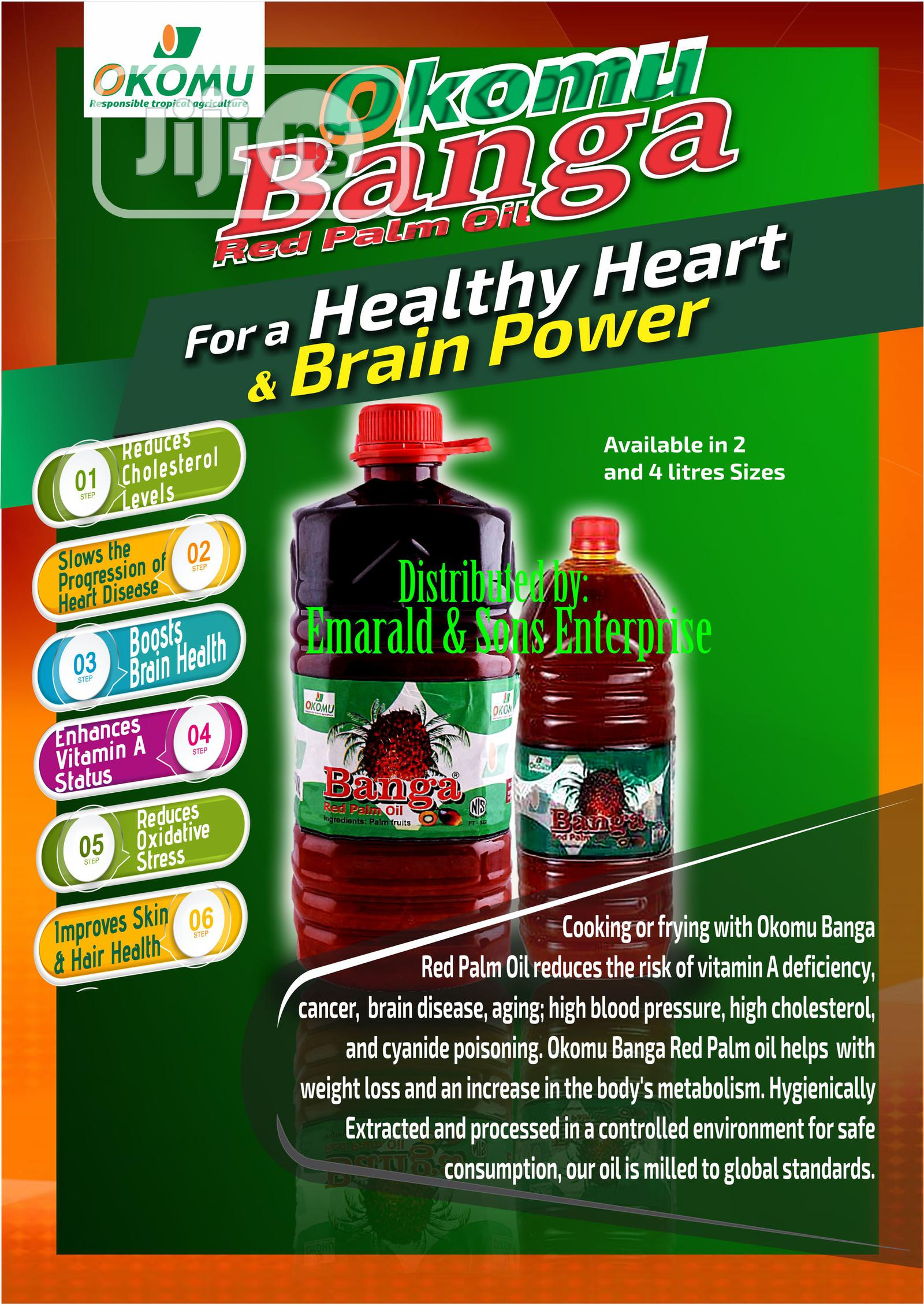 Okomu Banga Red Palm Oil 2 Litres Carton | Meals & Drinks for sale in Alimosho, Lagos State, Nigeria