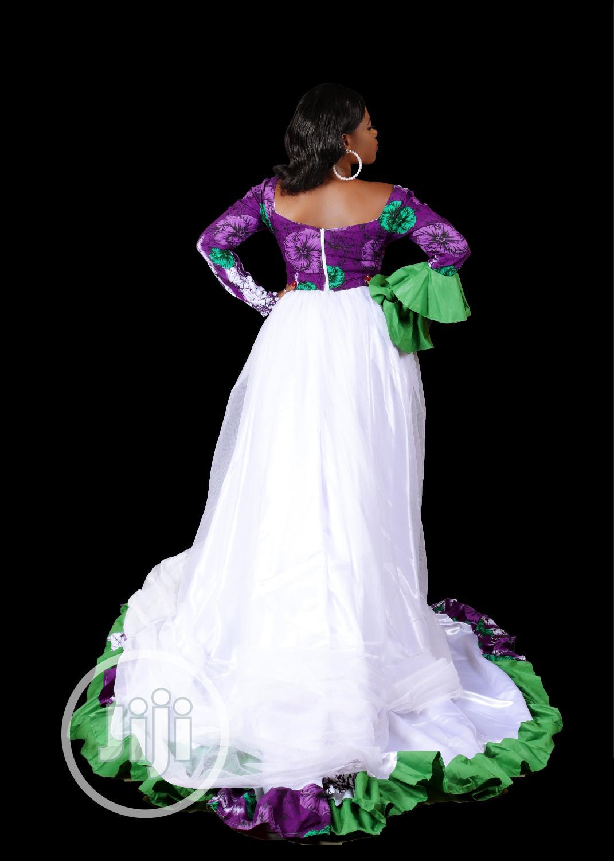Long Sleeve African Print Chiffon Maxi Dress