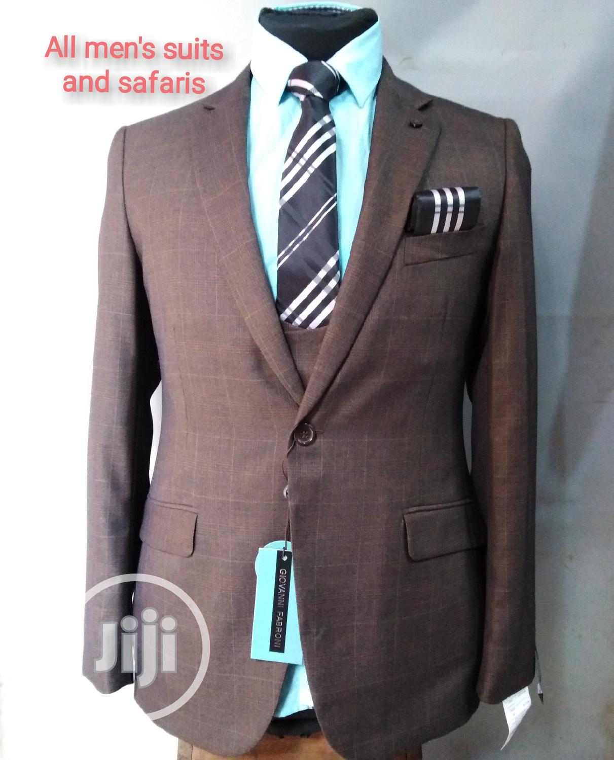 3pieces Brown Checked Suit