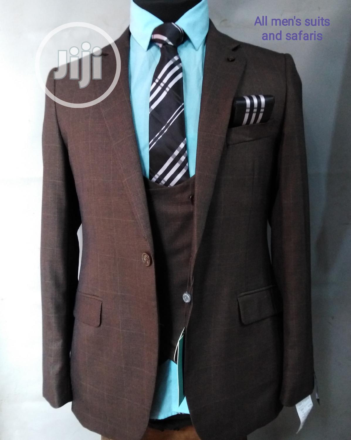 3pieces Brown Checked Suit | Clothing for sale in Yaba, Lagos State, Nigeria