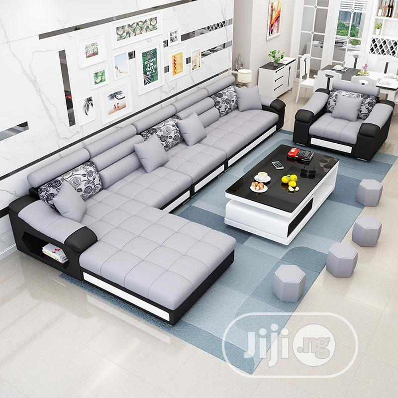 U-shaped Sofa Chair With Table And Side Stools. Fabric Couch