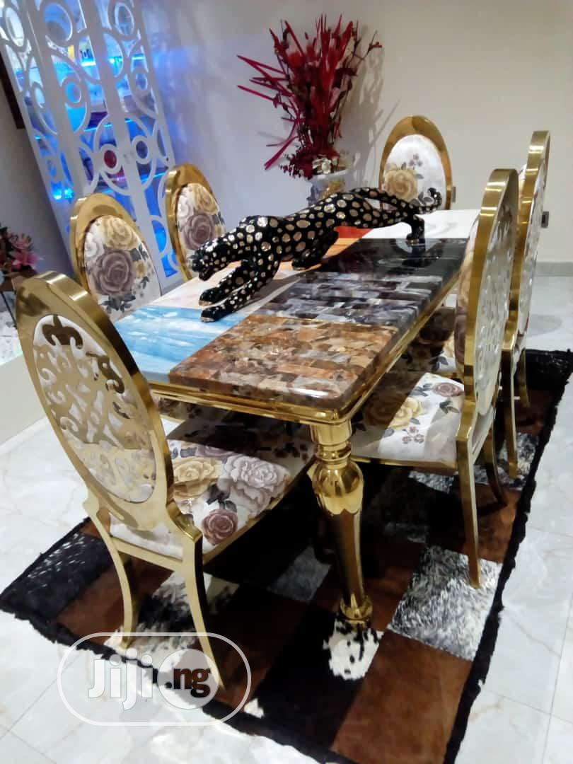 Italian Marble Royal Dinning Table With 6 Chairs