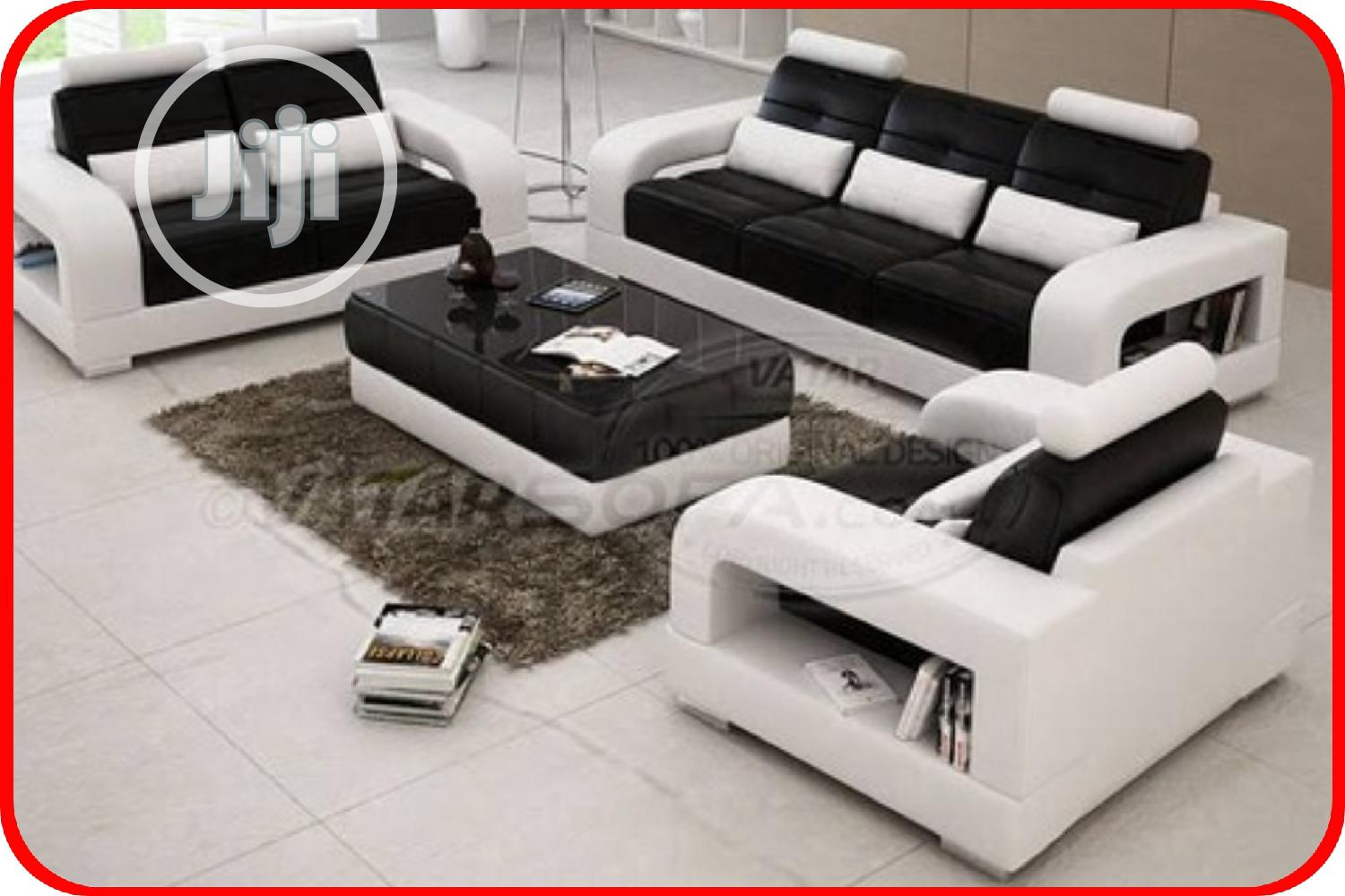 Complete Set Of 7 Seater Sofa With Center Table - White and Black