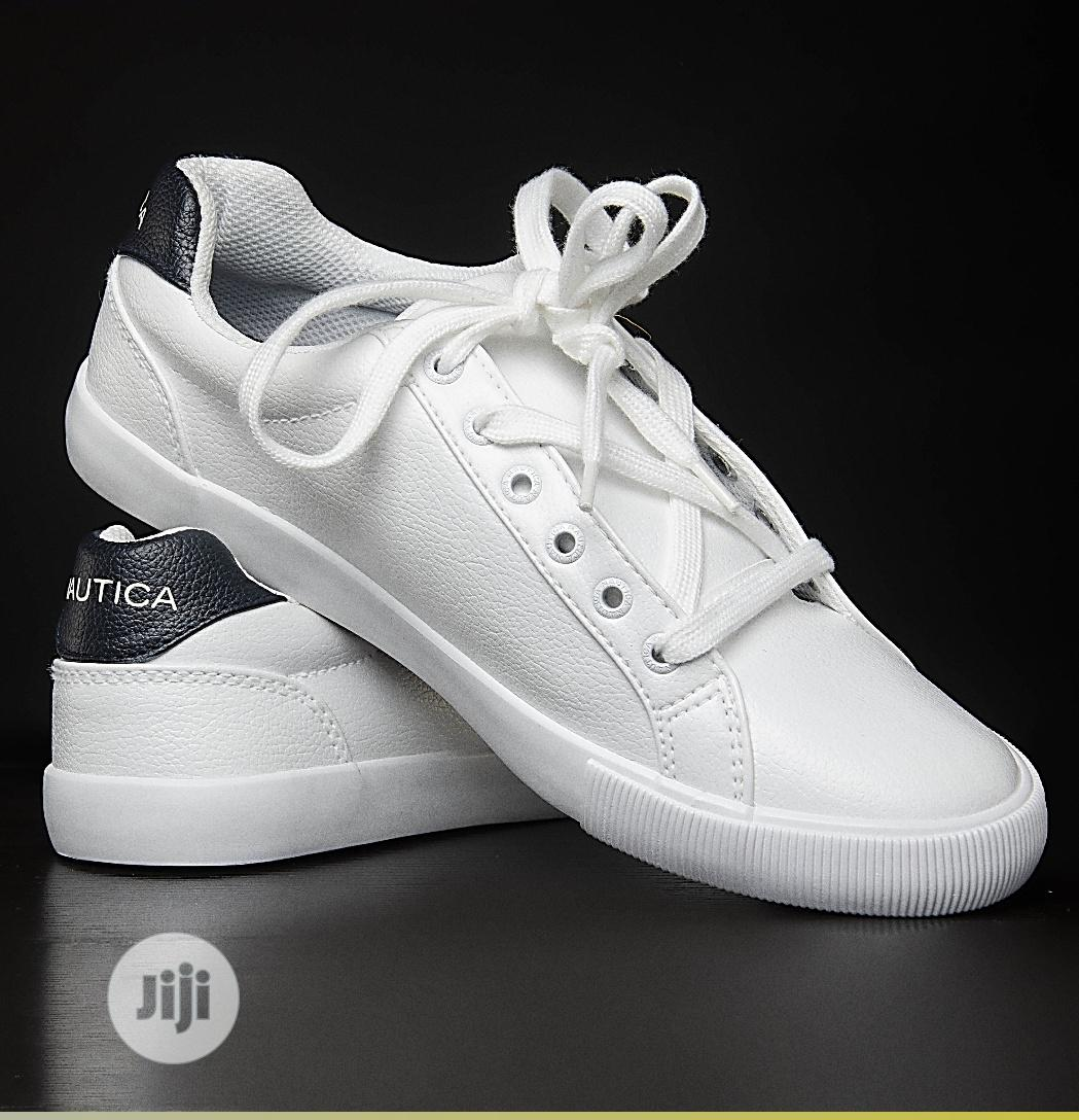 White Leather Nautica Flat Low Sneakers