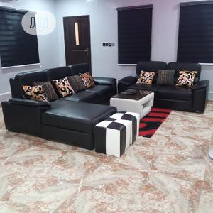 Black Leather Sofa Sets + Center Table + Two Puffs | Furniture for sale in Lagos State, Ajah