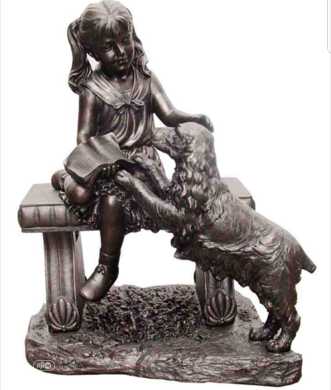 """27.55""""H Girl With Dog Sitting On Bench Outdoor Garden Patio"""