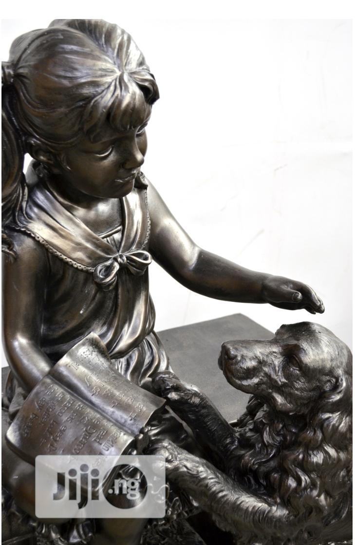 """27.55""""H Girl With Dog Sitting On Bench Outdoor Garden Patio 