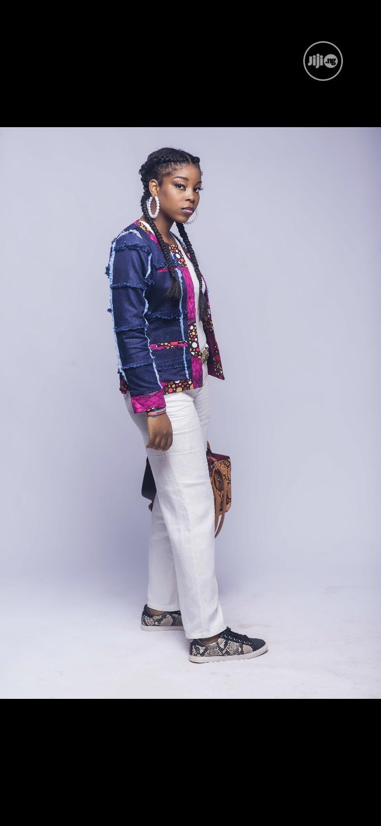 Denim and African Print Tweed Jacket