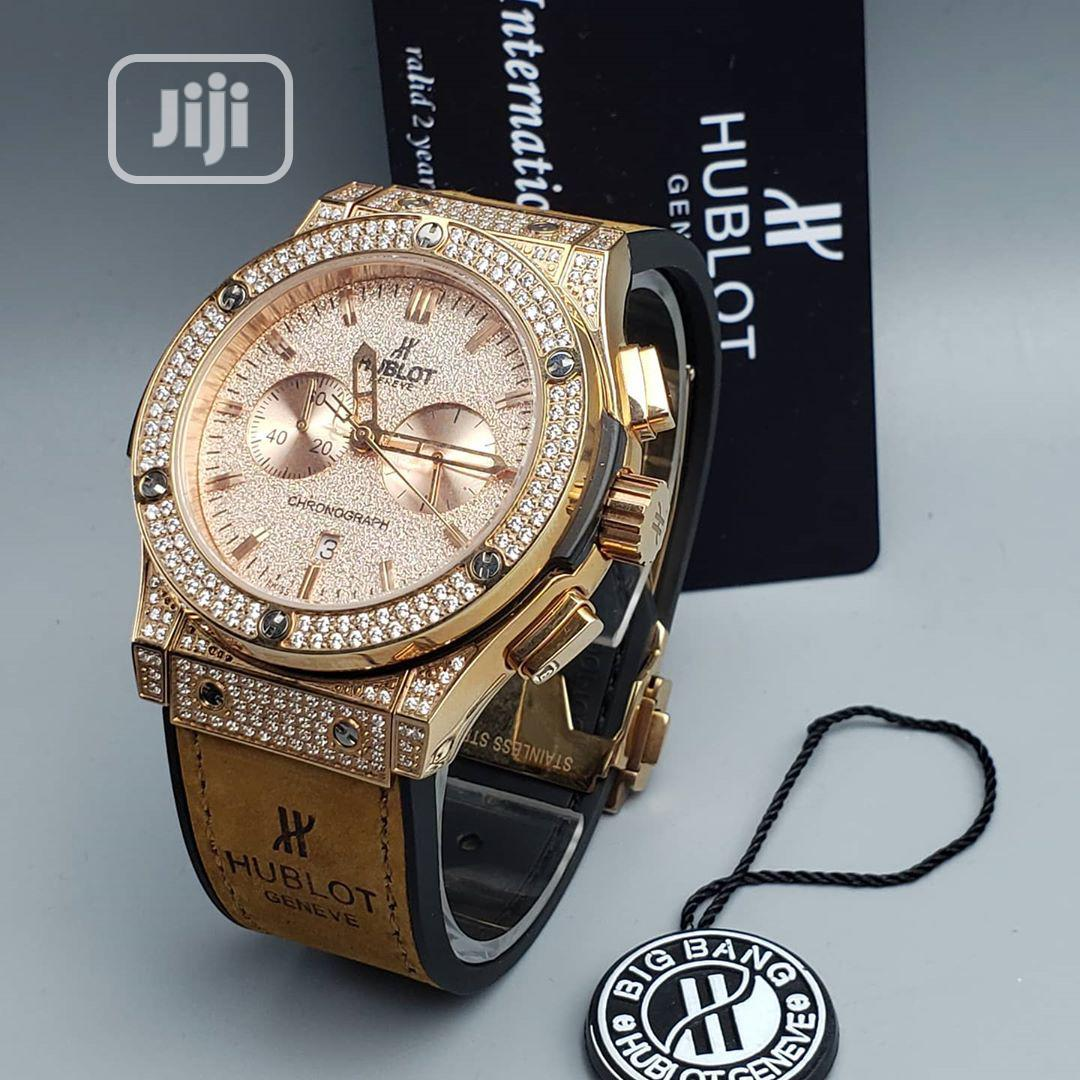 Hublot Ice Chronograph Rose Gold Leather Strap Watch