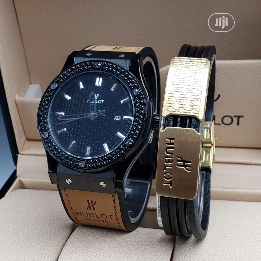 Hublot Leather Strap Watch And Bracelet