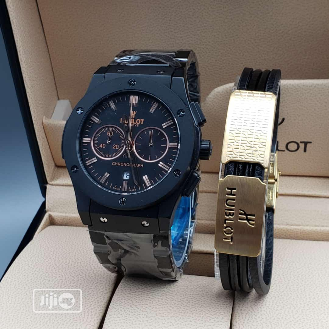 Hublot Chronograph Black Chain Watch And Bracelet
