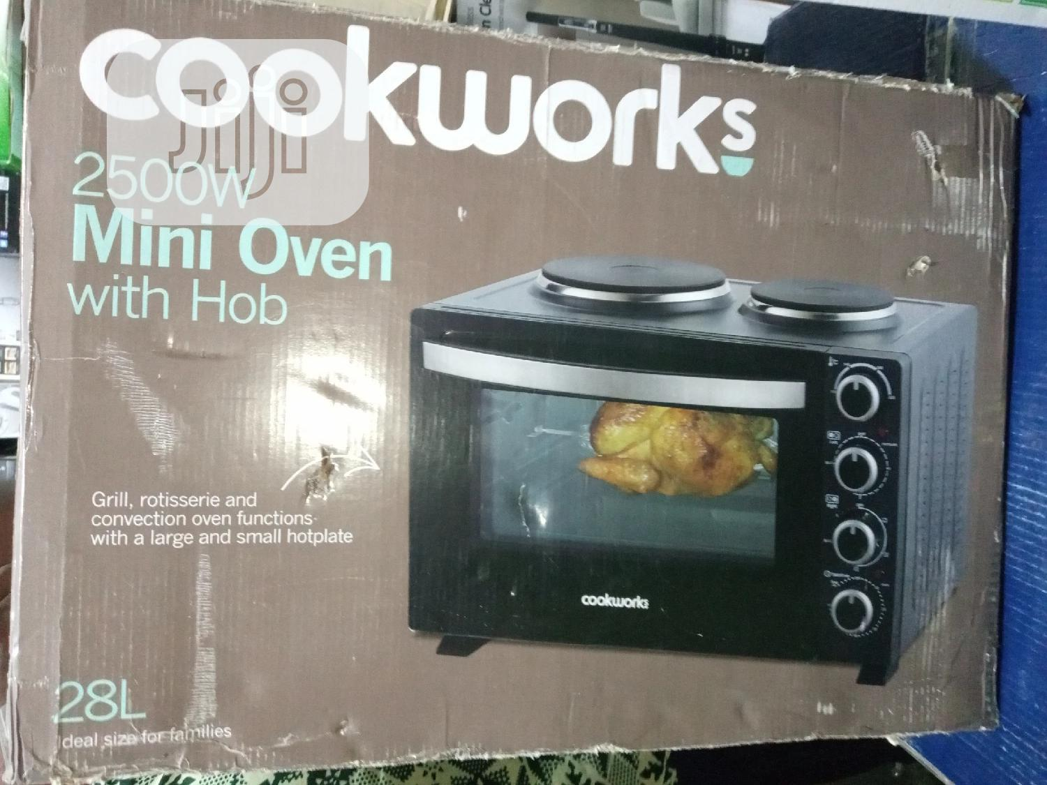 Cookworks 2500watts Mini Oven With 2 Hot Plates, 28 Litres.