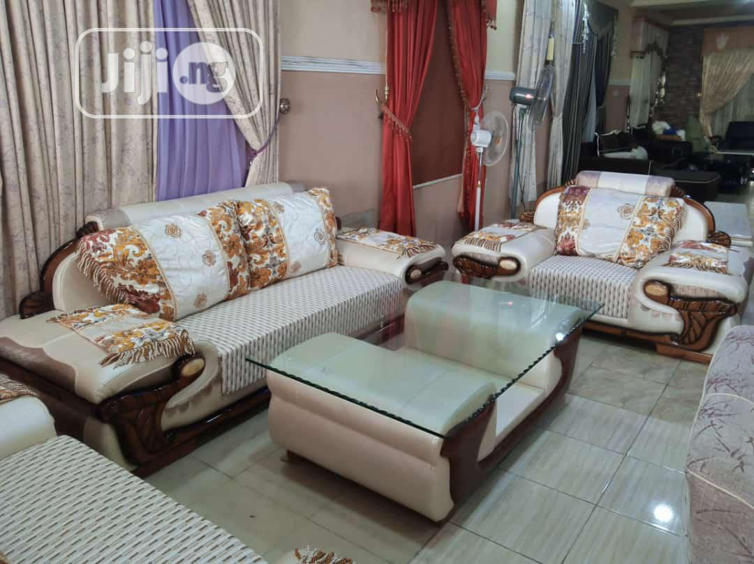 Royal Fabric and Leather Sofa With Center Table