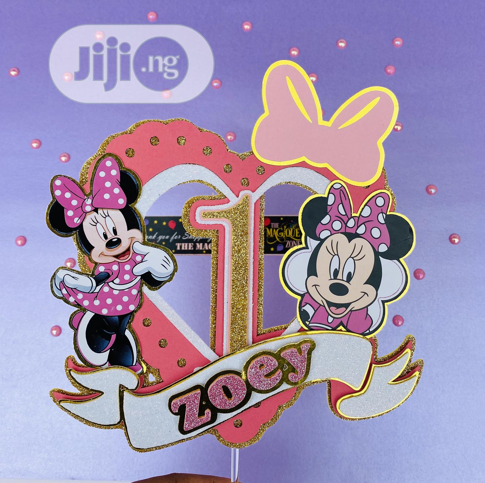 3D Minnie Themed Cake Topper
