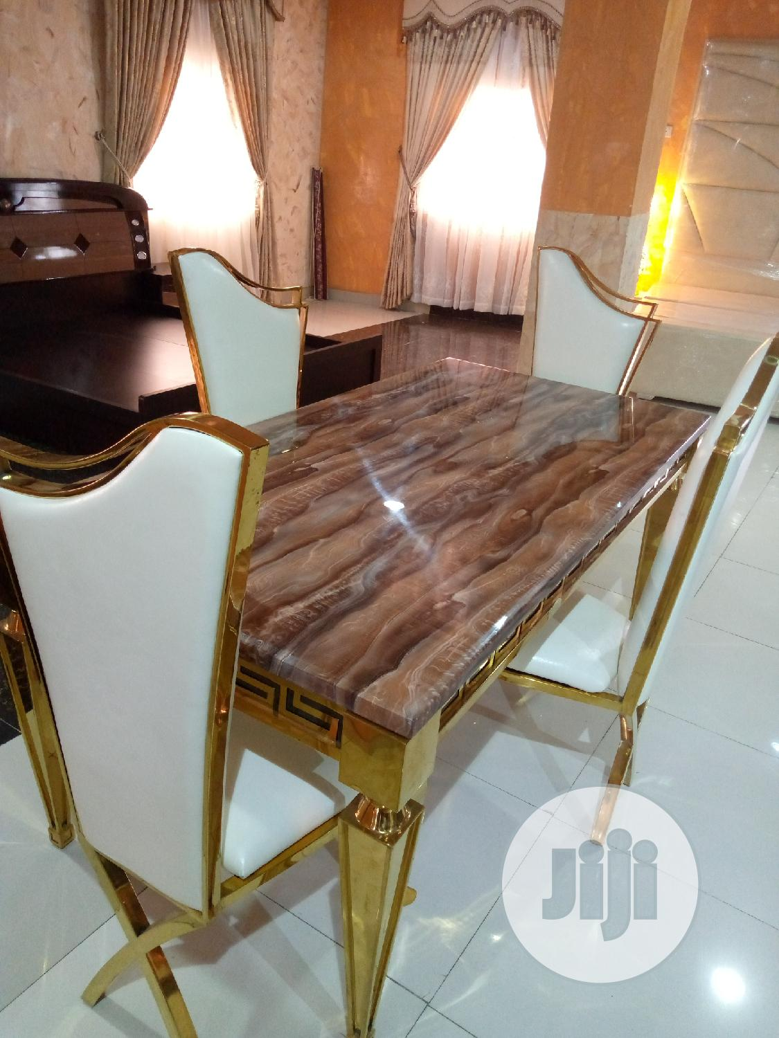 Gold Dinning Table By 4 Chairs | Furniture for sale in Ojo, Lagos State, Nigeria