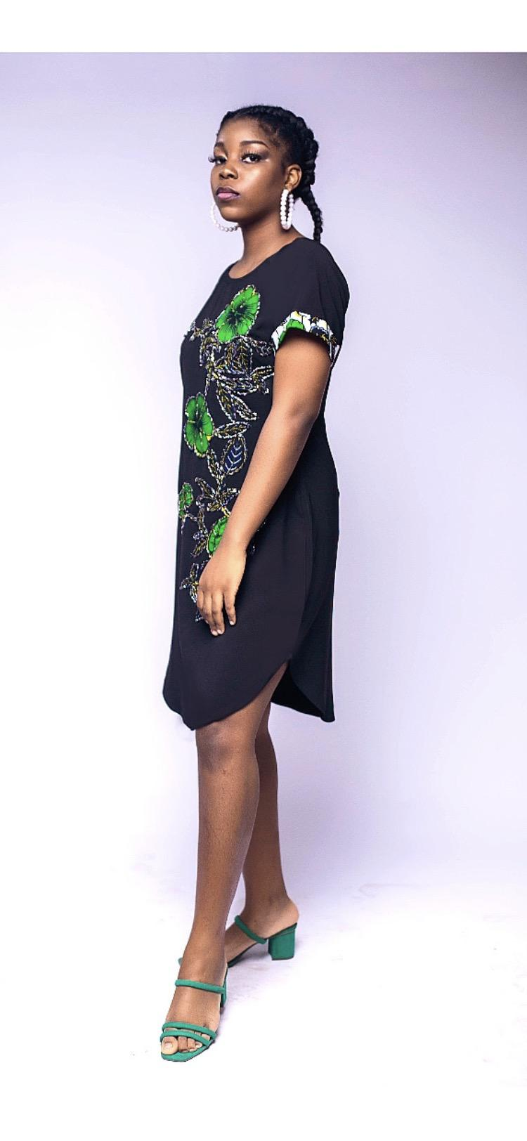 African Print, Beaded Floral Shift Dress | Clothing for sale in Yaba, Lagos State, Nigeria