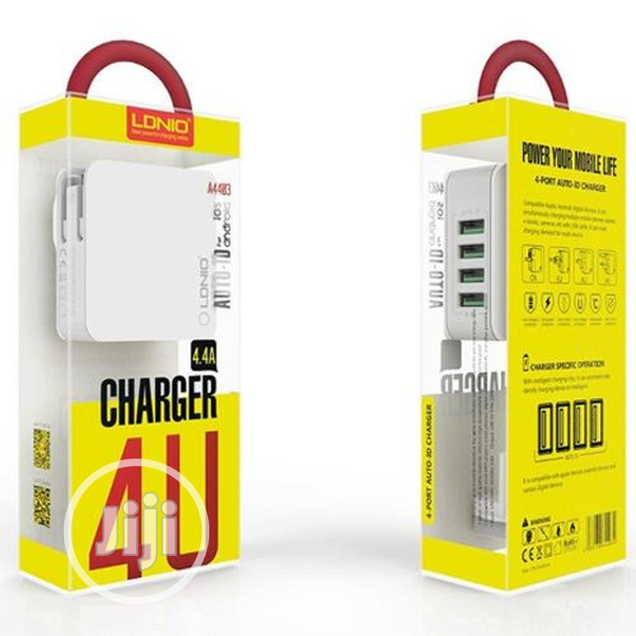 LDNIO Premium 4 USB Rapid Travel Charger With Auto-id Tech   Accessories for Mobile Phones & Tablets for sale in Ikeja, Lagos State, Nigeria