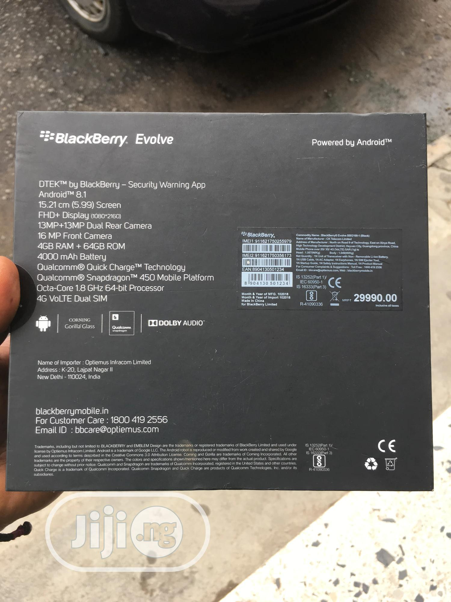 New BlackBerry Evolve 64 GB Black | Mobile Phones for sale in Wuse 2, Abuja (FCT) State, Nigeria