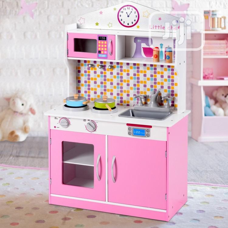 Kids Wooden Pretend Cooking Play Kitchen Set