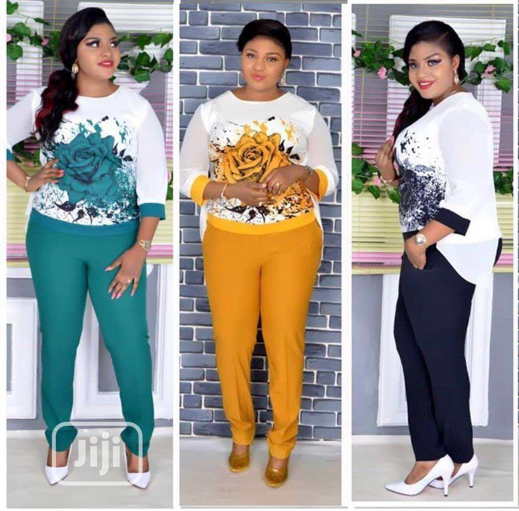 Ladies Chiffon Print Top and Trousers