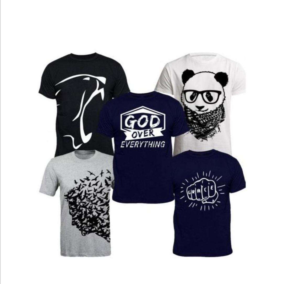 T-Shirt Bundle (5-In-1) - Grey, Navyblue, White, Black