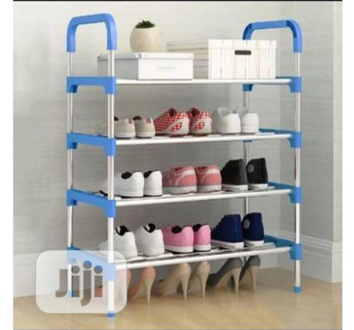 Archive: 4 Layers Stainless Steel Shoe Rack Blue Shoe Rack