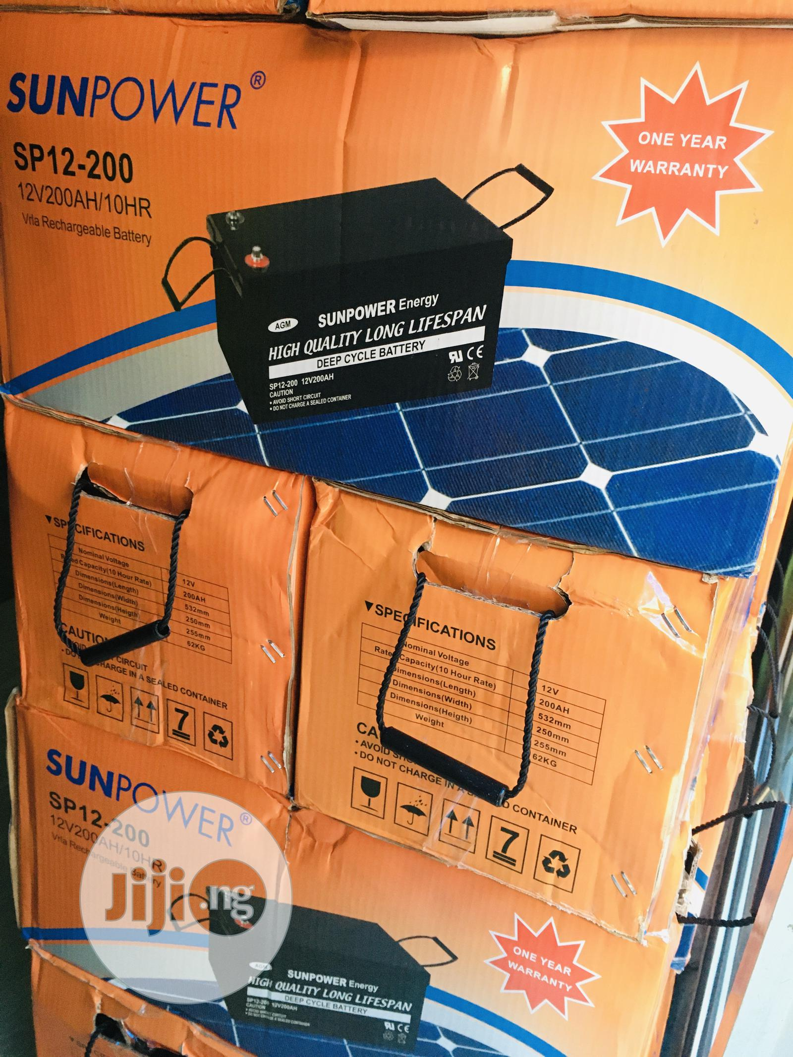 200ah 12v Sunpower Battery Available With 1yr Warranty