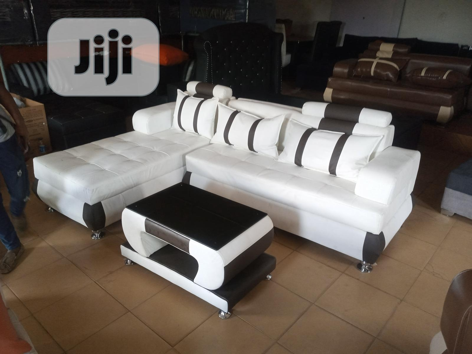 L-Shape Sofa With Centre Table - Leather Couch