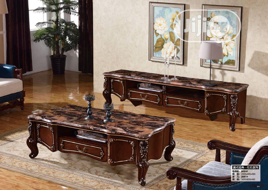 Executive Royal Marble Tv Console & Center Table