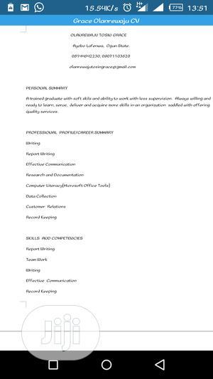Receptionist | Clerical & Administrative CVs for sale in Ogun State, Ado-Odo/Ota