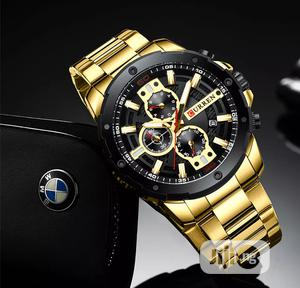 CURREN Luxury Chronograph Waterproof Calendar Gold Watch | Watches for sale in Lagos State, Victoria Island