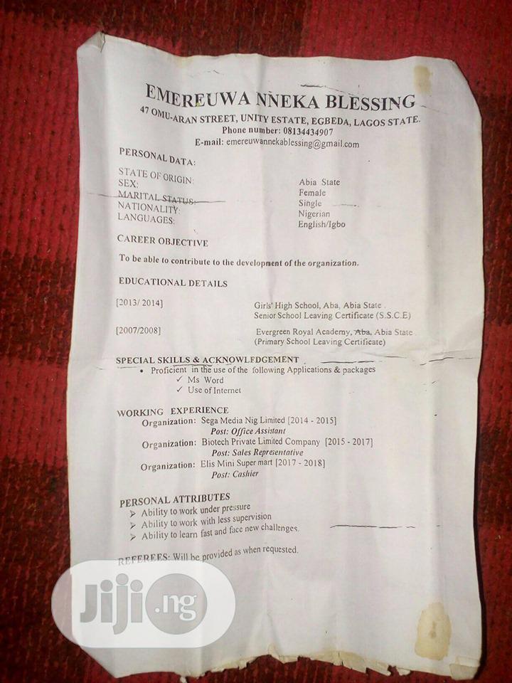 Emereuwa Nneka | Office CVs for sale in Egbe Idimu, Lagos State, Nigeria