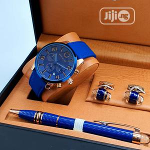 Montblanc Chronograph Blue Leather Watch/Pen and Cufflinks   Watches for sale in Lagos State, Lagos Island (Eko)