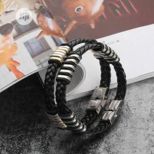Men's Stainless Steel Leather Bracelet | Jewelry for sale in Lagos State, Oshodi