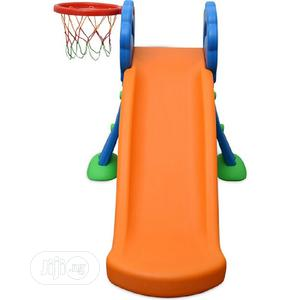 Children Playground Plastic Slides With Basketball Hoop(Blue   Toys for sale in Lagos State, Surulere