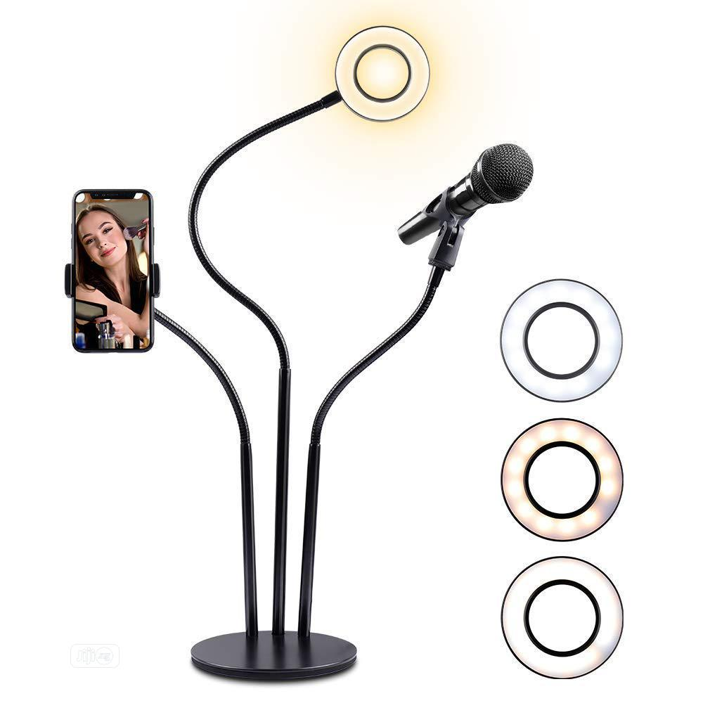 Selfie Ring Light With Cellphone Stand And Microphone Holder