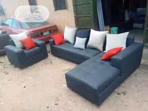 L-Shape Sofa With Single Seater Chair. Fabric Couch | Furniture for sale in Lagos State, Badagry