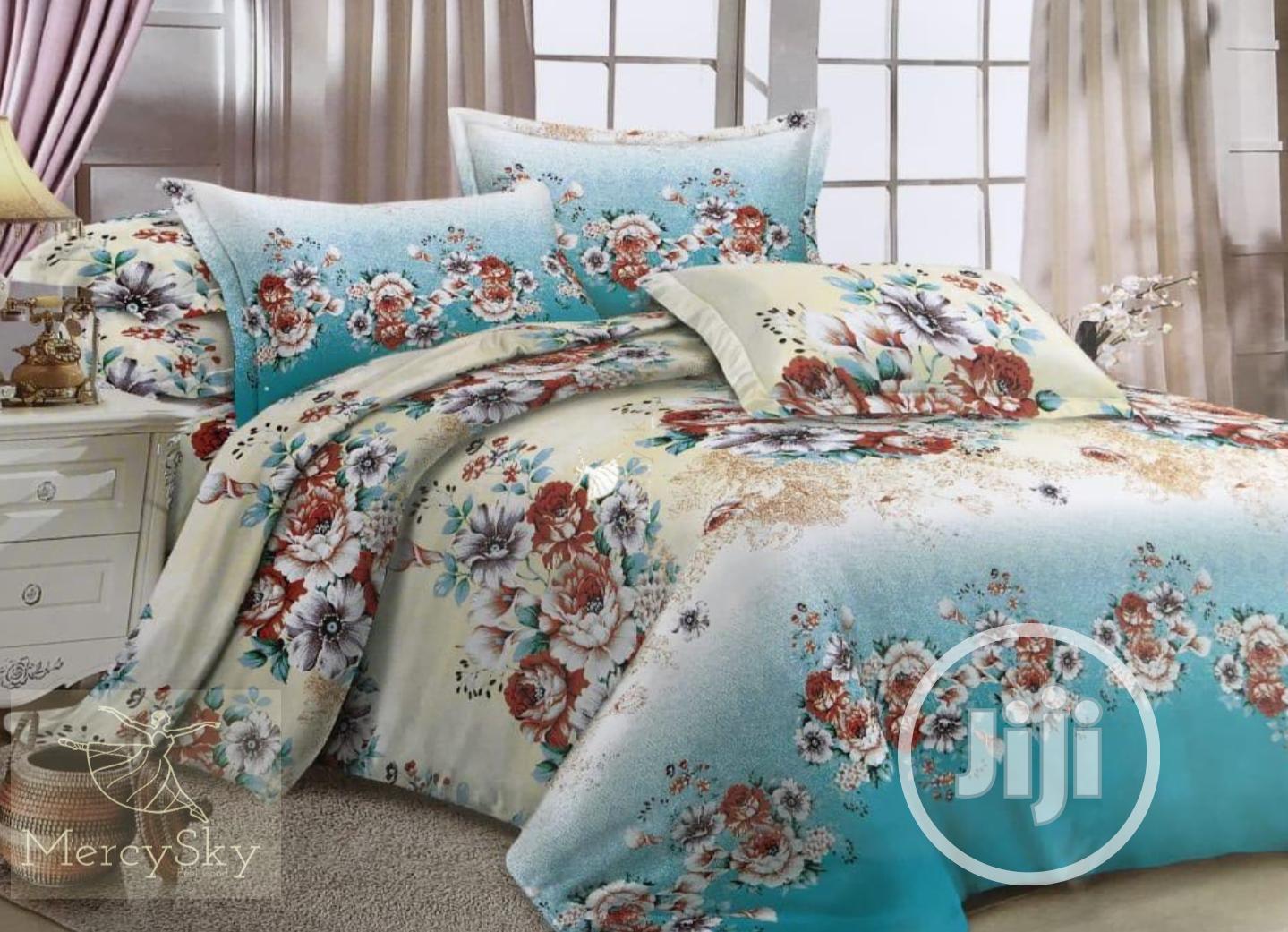 Bed Sheet With Duvet - Beddings Set Sky Blue Flower Design